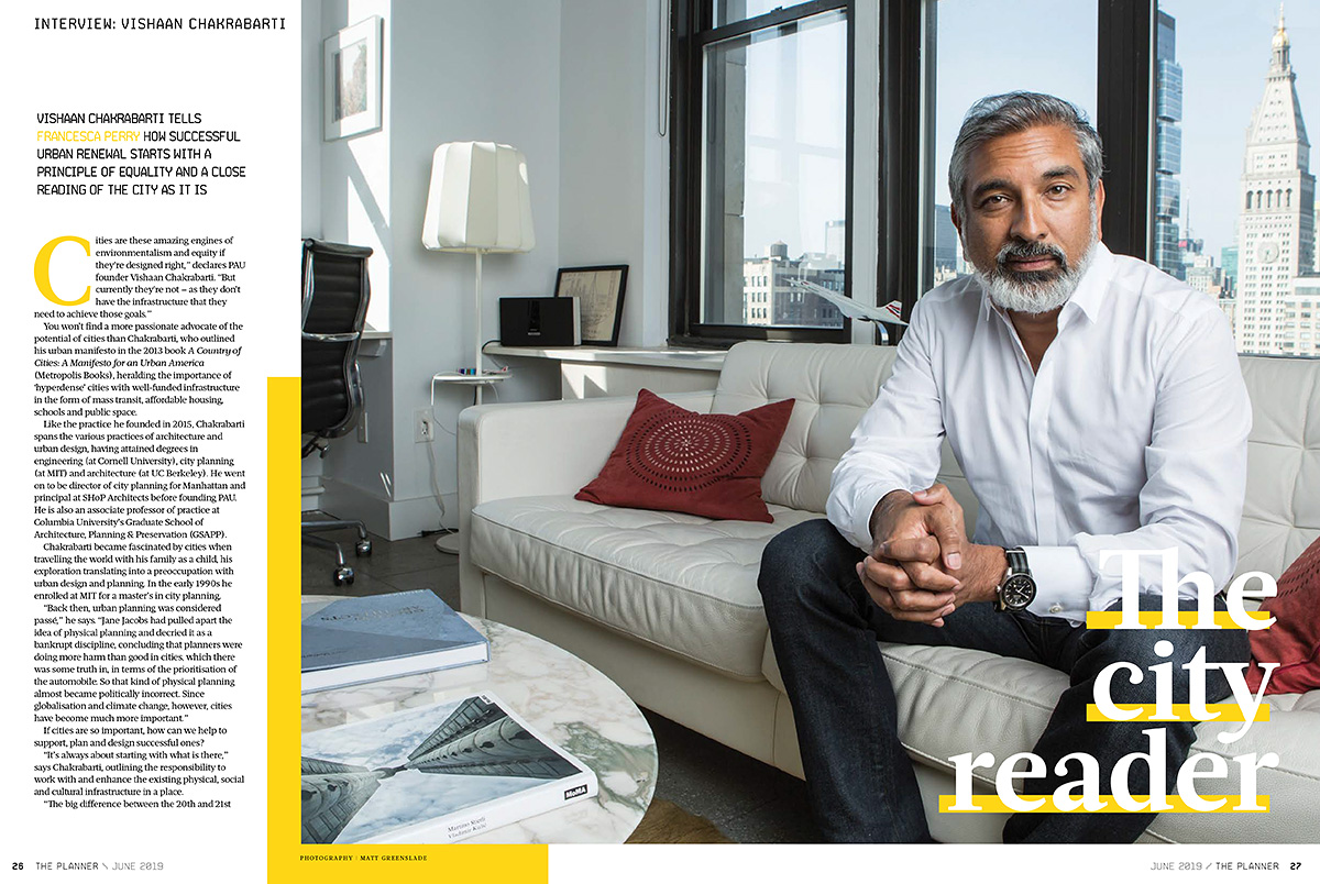 Editorial portrait of architect Vishaan Chakrabarti, photographed in NYC for The Planner