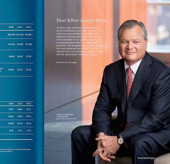 Jim Cracchiolo, CEO, Ameriprise Financial. Annual report portrait.