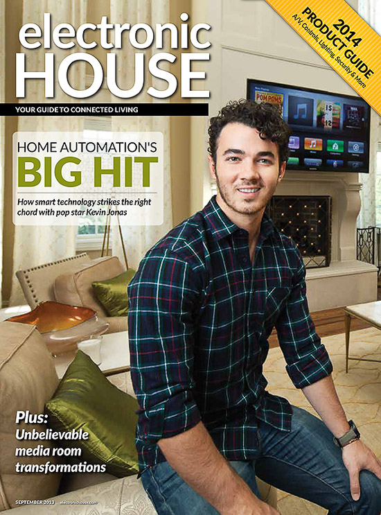 Kevin Jonas at home, photographed for Electronic House magazine