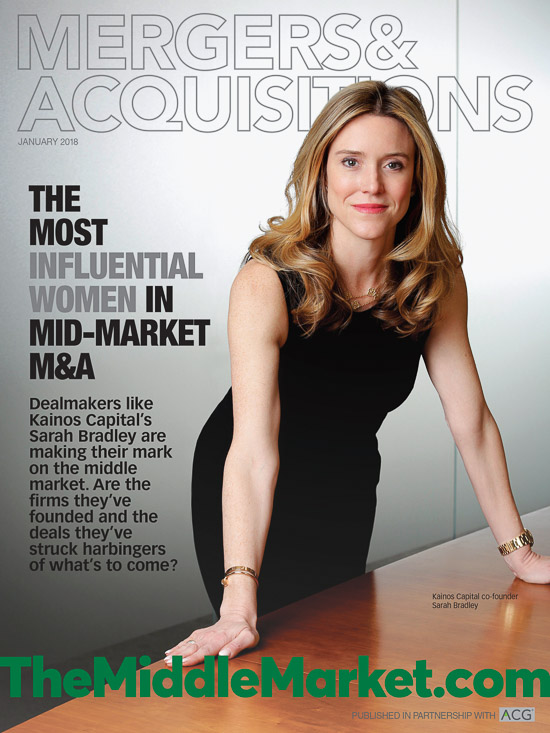 Mergers and Acquisitions magazine cover portrait of Sarah Bradley of Kainos Capital, photographed in New York.