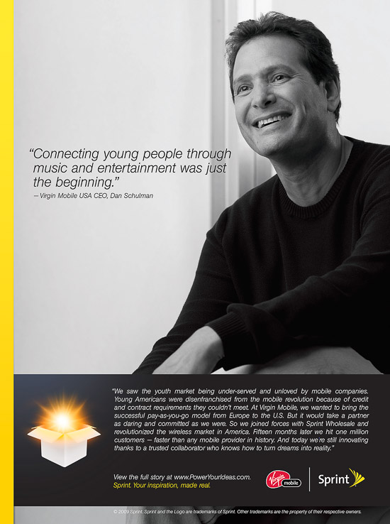 Dan Schulman, CEO, Virgin Mobile. Advertising photography for Sprint